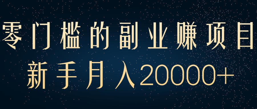 零门槛的副业赚钱项目,新手月入20000+【视频教程】