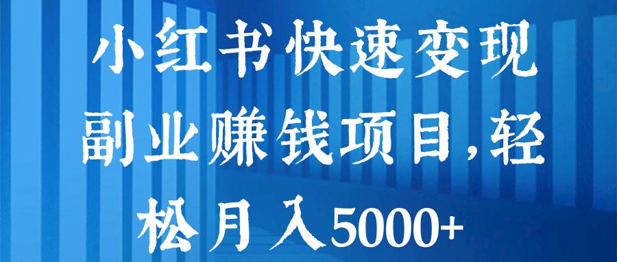 小红书快速变现副业赚钱项目,轻松月入5000+【视频教程】